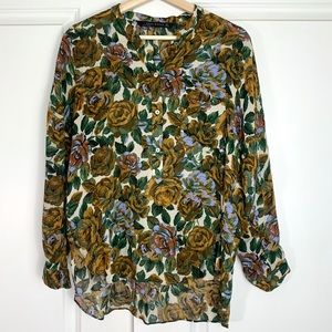 Zara Floral Long Sleeve High Low Blouse